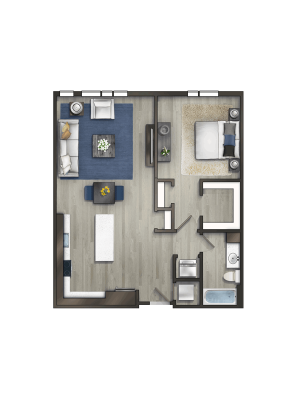 Momentum at Shady Grove 1 Bedroom Floor Plan