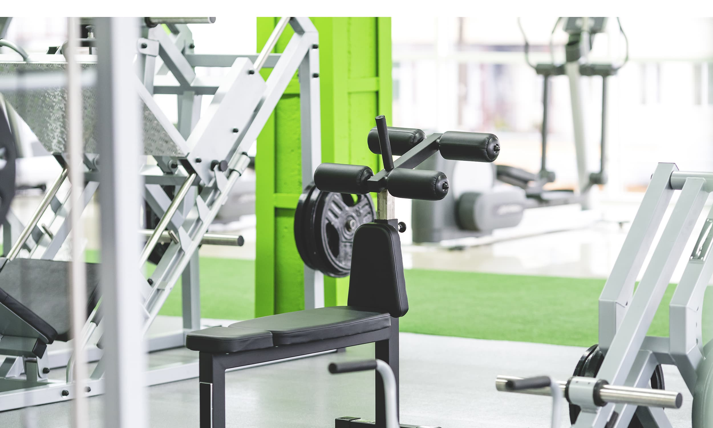 The sport equipment in the fitness center